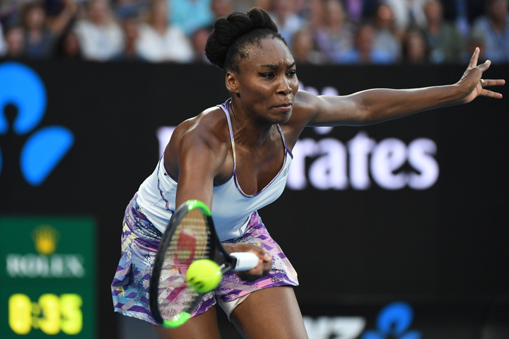 Venus Williams in action against her sister, Serena, in the final in Melbourne.