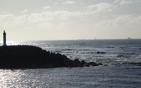 The entrance to Westport from Tasman Sea.