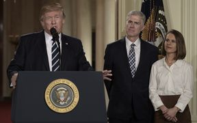 President Trump announces his selection Neil Gorsuch, who stands with his wife Marie Louise, for the Supreme Court of the United States.
