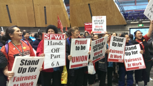 Workers rallying against the bill in Auckland.