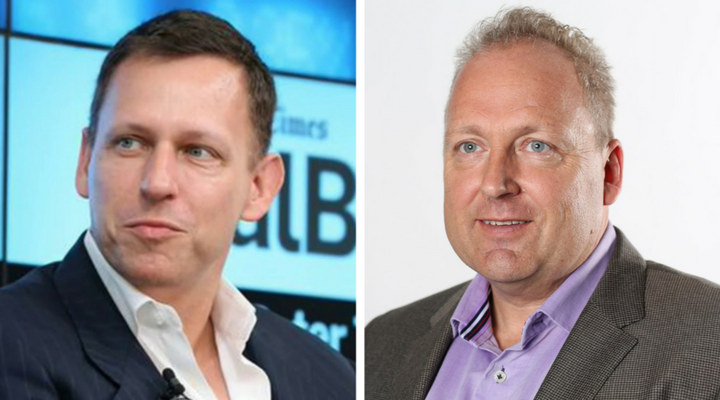 American billionaire Peter Thiel and Xero founder Rob Drury.