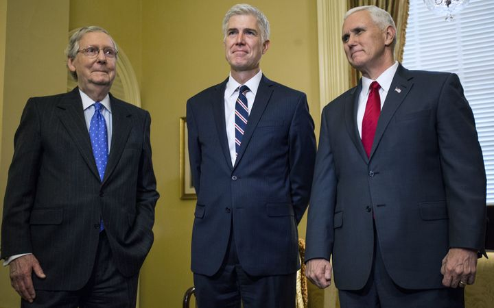 Senate Majority Leader Mitch McConnell, Supreme Court nominee Neil Gorsuch and Vice President Mike Pence meet at Capitol Hill in Washington DC,