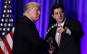 Paul Ryan, the Speaker of the House of Representatives, with President Donald Trump.