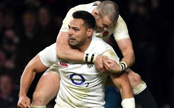 Ben Te'o of England celebrates his try Mike Brown.