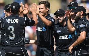 The Black Caps congratulate Trent Boult.