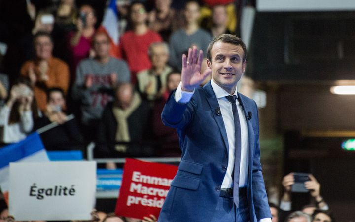 "Emmanuel Macron, former Minister of Finance, gives a speech in Lyon in front of 16,000 for the french Presidential Elections, 4th February 2017. Emmanuel Macron is the leader of political movement ""En Marche""."