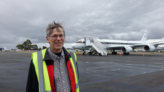 Steve Wofsy with NASA's DC-8 flying laboratory.