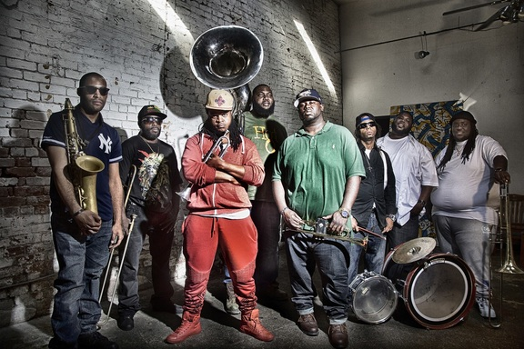 Hot 8 Brass Band - Bennie Pete (leader) back row, centre