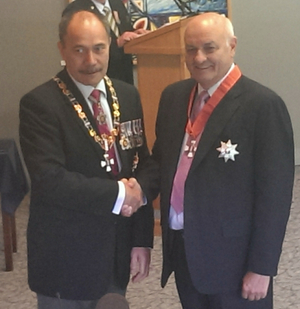 Sir Owen Glenn with the Governor General after his investiture.