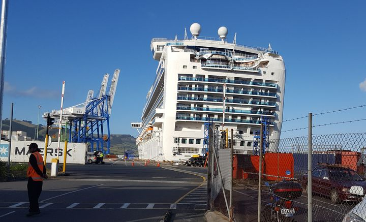 The Emerald Princess docked in Port Chalmers.