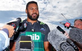 Patrick Tuipulotu fronts the media after being cleared of doping allegations.