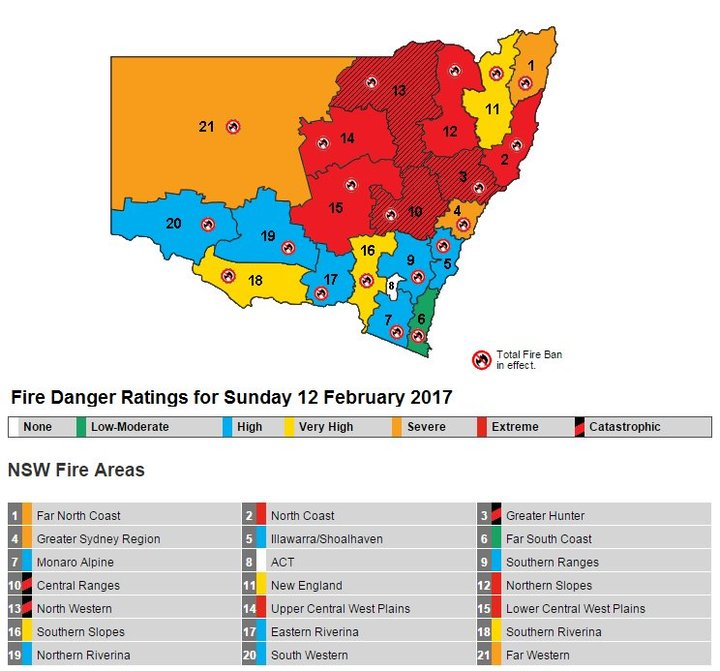 The rural NSW fire service tweeted this map warning people of the danger areas.