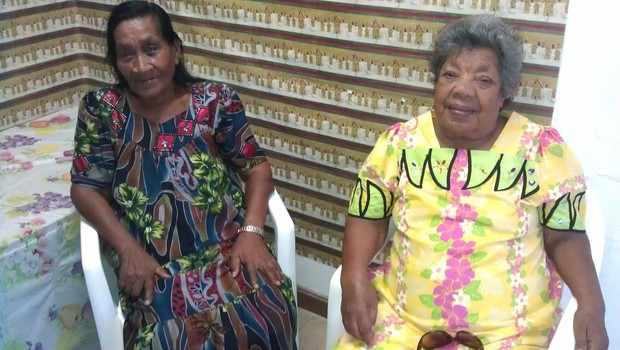 Rinok Riklon (left) and Namiko Anjain are survivors of US nuclear testing in the Marshall Islands during the 1950s.