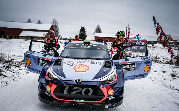 John Kennard and Hayden Paddon at Rally Sweden.