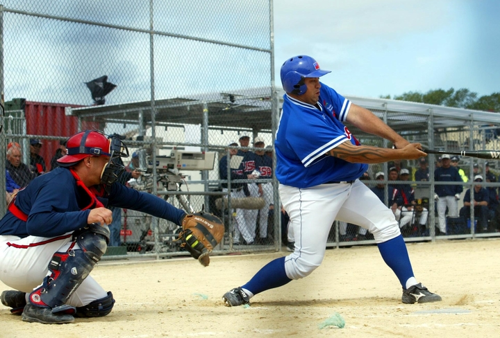 Current Samoa player-coach Duane Jerard bats during the 2004 World Championships.