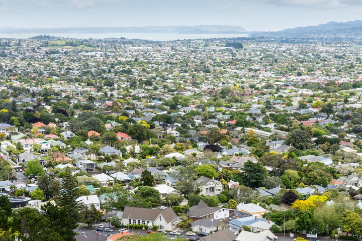 View from above of residential streets and houses housing in Auckland.