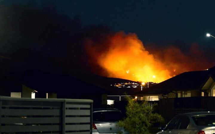 Flames from fire on the Port Hills near Christchurch