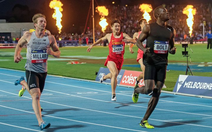 Usain Bolt heads off New Zealand sprinter Joseph Millar at a recent meet in Melbourne.