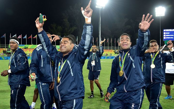 Fiji celebrate their Sevens victory at the Rio Olympics.