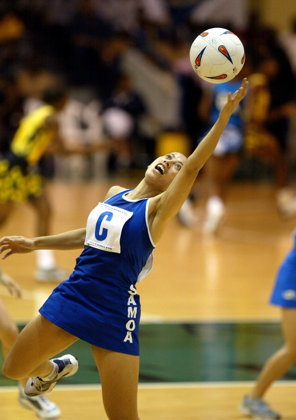 Frances Solia reaches for the ball during the 2003 Netball World Champs in Jamaica.