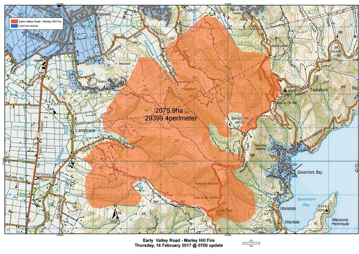 Port Hills Fire map