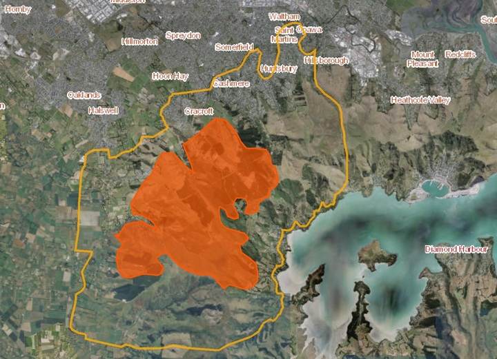 The Port Hills fire area - the yellow line boundary shows where further fire spread and smoke could pose a risks, and Civil Defence is recommending people keep out of that area..
