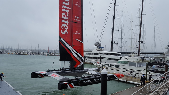 Team New Zealand' new 15-metre AC clas catamaran is launched in Auckland.