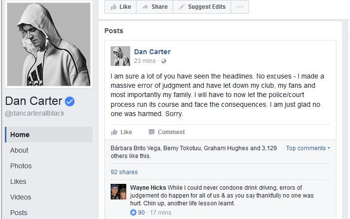 Dan Carter has apologised on Facebook after being caught drink driving in France.