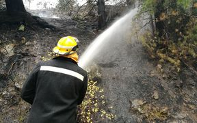 A firefighter dampens down a hot spot in the wake of the devastating Port Hills fires.
