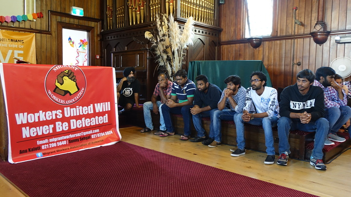 The students are being farewelled at the Unitarian Church in Ponsonby, Auckland before leaving the country.