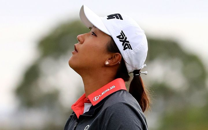 Lydia Ko reacts to missing a putt at the 2017 Australian Open.
