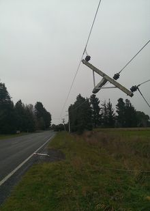 Power lines were down across Canterbury.