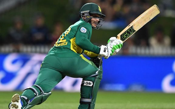 Quinton de Kock bats for South Africa in their ODi win over NZ.