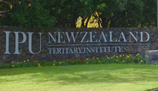 Sign saying Institute of the Pacific United (IPU) in Palmerston North.