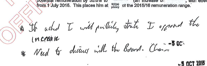 Bill English hand wrote his opposition to the pay rise at the bottom of the report.