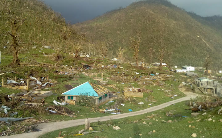 Once some of the lushest jungle in Vanuatu, Pentecost's central area is now a wasteland. Cyclone Harold, Vanuatu 2020.