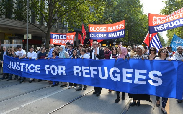 Thousands of Australians demand refugees not be sent back to Nauru or Manus Island, on 20 March 2016 in Melbourne.