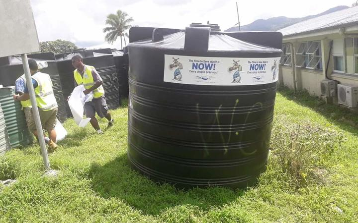 Water Authority of Fiji workers filled 50x5000 litre tanks with treated drinking water for villagers on Kadavu.