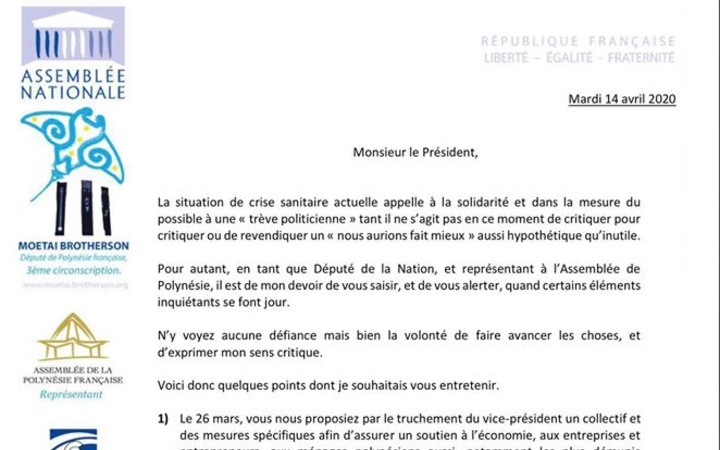 Letter to President Edouard Fritch