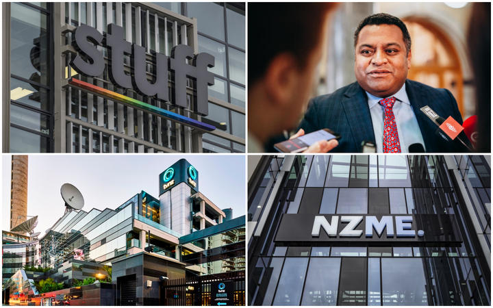 Stuff, TVNZ, NZME buildings and Broadcasting Minister Kris Faafoi.