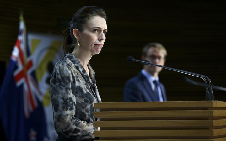 Prime Minister Jacinda Ardern looks on during a media conference at Parliament on April 16, 2020 in Wellington, New Zealand.