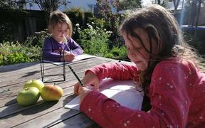 Anoushka, 6, and her sister Frieda, 4, learning from home in Dunedin.