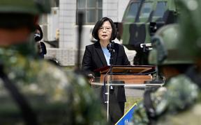 Taiwan President Tsai Ing-wen delivers her address to soldiers amid the COVID-19 coronavirus pandemic during her visit to a military base in Tainan, southern Taiwan.