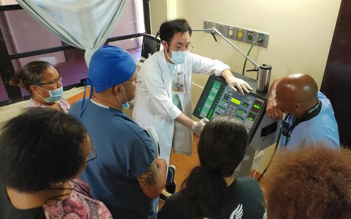 Taiwanese expert trains Palau health workers to enable capacity to do local testing.