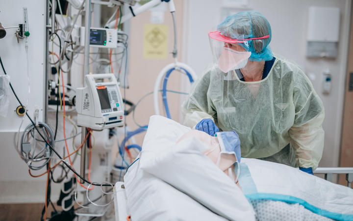 Health workers take part in ICU training for Covid-19 at Hutt Hospital.