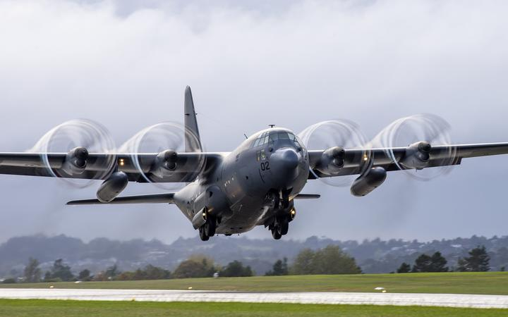 An RNZAF Hercules assists with aid efforts to Vanuatu and Fiji