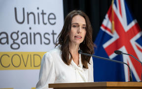 Prime Minister Jacinda Ardern announcing alert level change on 20 April