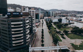 Drone footage in central Wellington during alert level 4.