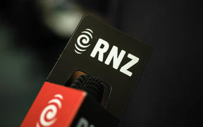 A microphone with the RNZ logo on it.