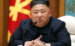 Kim Jong Un speaks during a meeting of the Political Bureau of the Central Committee of the Workers' Party of Korea on 11 April.
